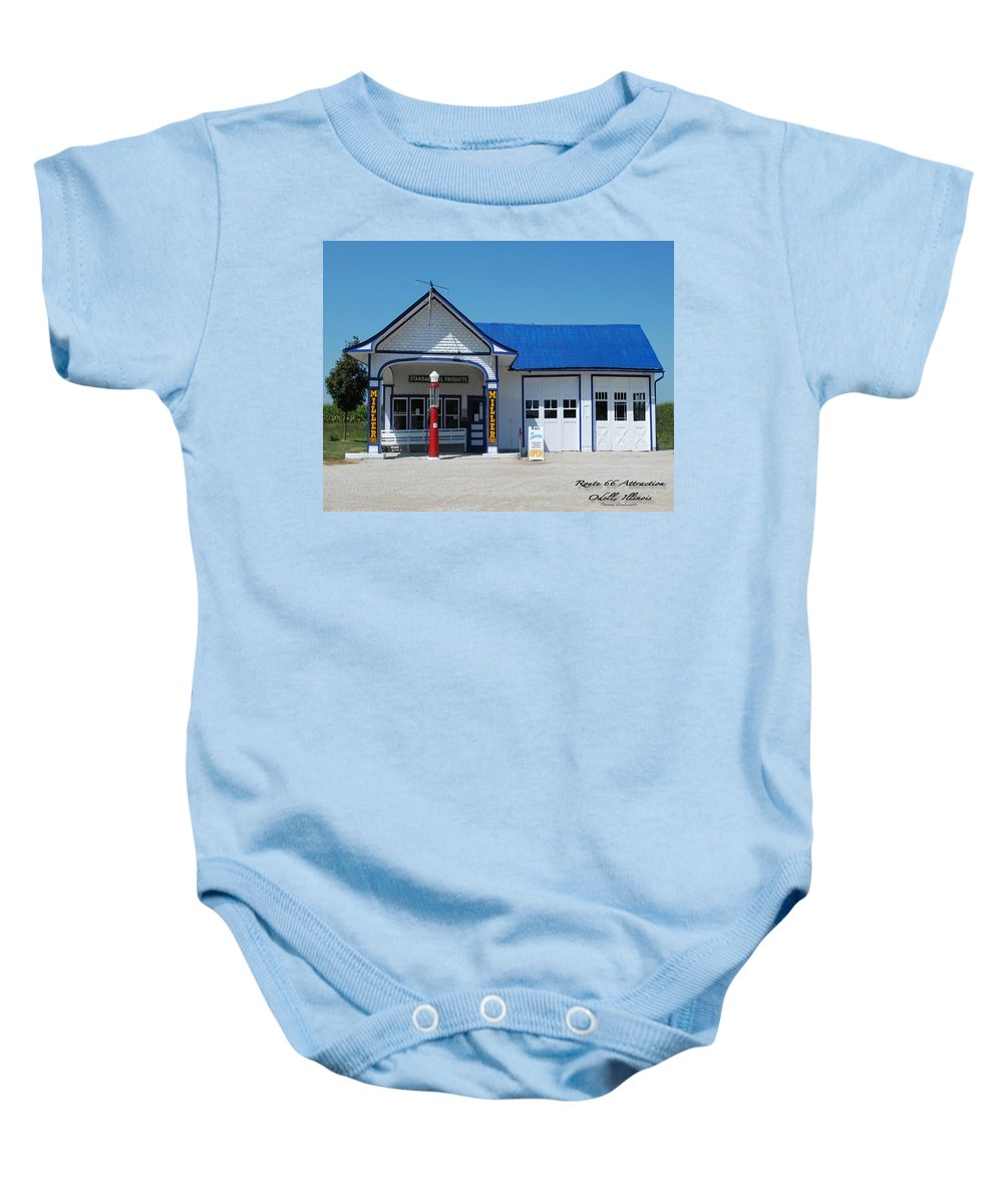 Route 66 Odell Il Gas Station Baby Onesie featuring the photograph Route 66 Odell Il Gas Station 01 by Thomas Woolworth