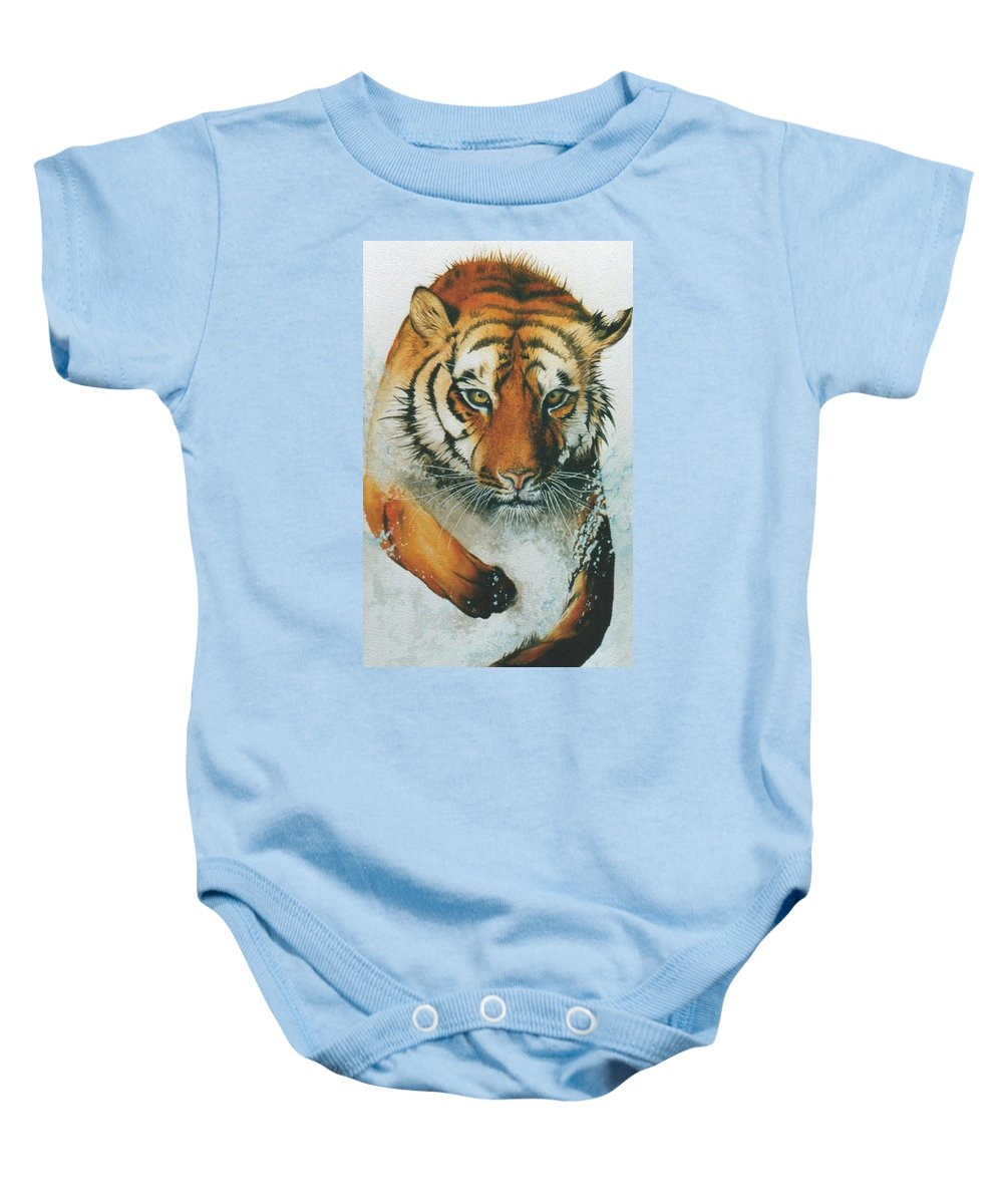 Tiger Baby Onesie featuring the painting Running Tiger by Alan Pickersgill