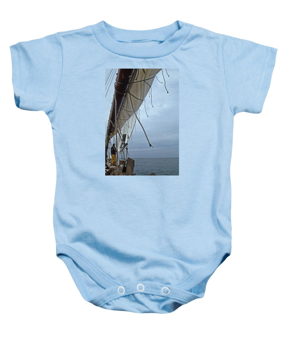 Md Baby Onesie featuring the photograph Sailing A Skipjack by Skip Willits