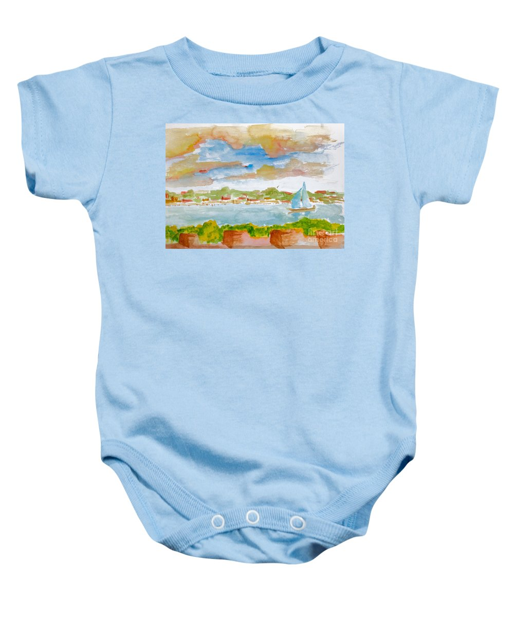 Nature Baby Onesie featuring the painting Sailing On The River by Walt Brodis