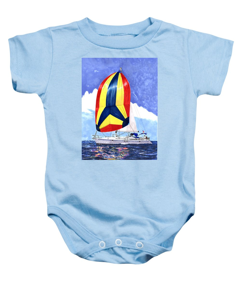Sailing The Ocean Blue Baby Onesie featuring the painting Sailing Primary Colores Spinnaker by Jack Pumphrey