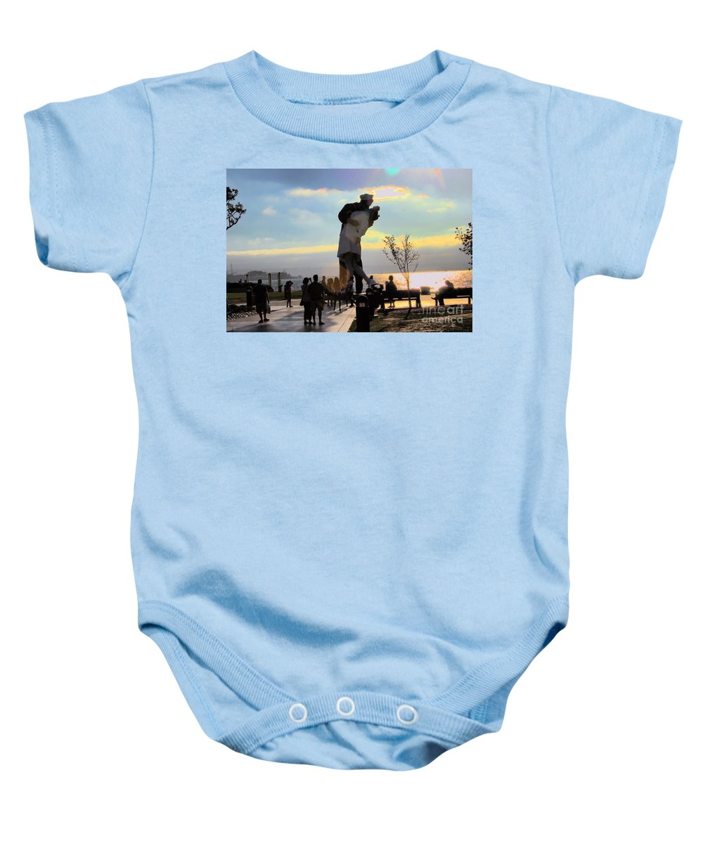 San Diego Uss Midway Statue Sailor Nurse Ship Home Baby Onesie featuring the photograph Sailor Life by RJ Aguilar