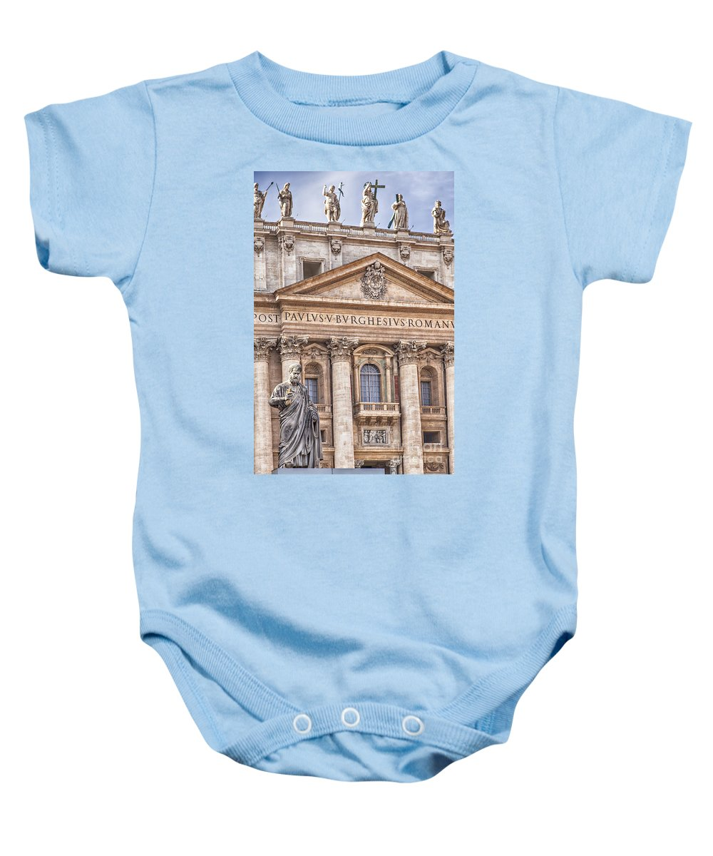 Basilica Baby Onesie featuring the photograph Saint Peters Basilica Rome by Sophie McAulay