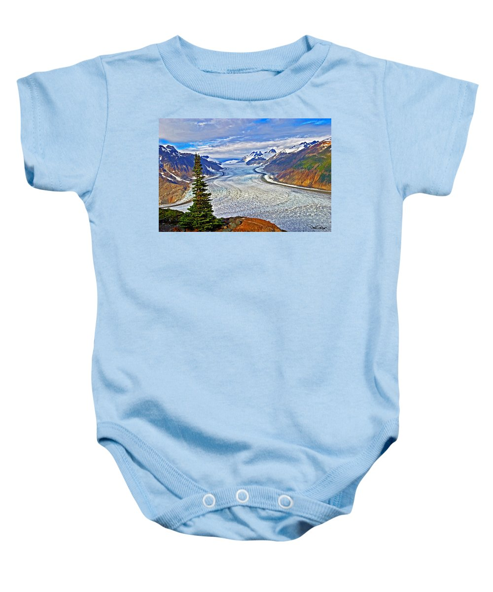 British Columbia Landscape Baby Onesie featuring the photograph Salmon Glacier by David Salter