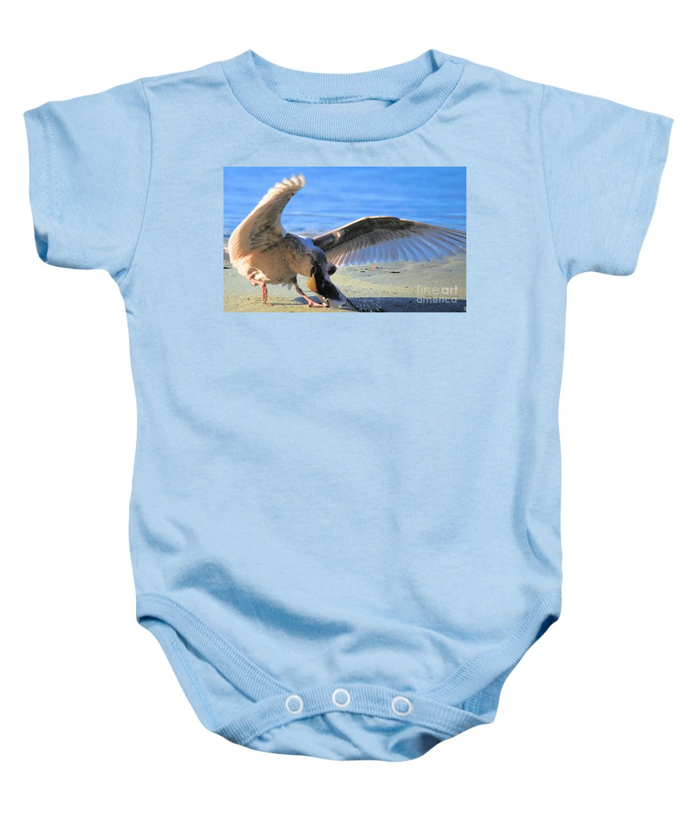 Sea Gull Baby Onesie featuring the photograph Salmon Tug by Adam Jewell