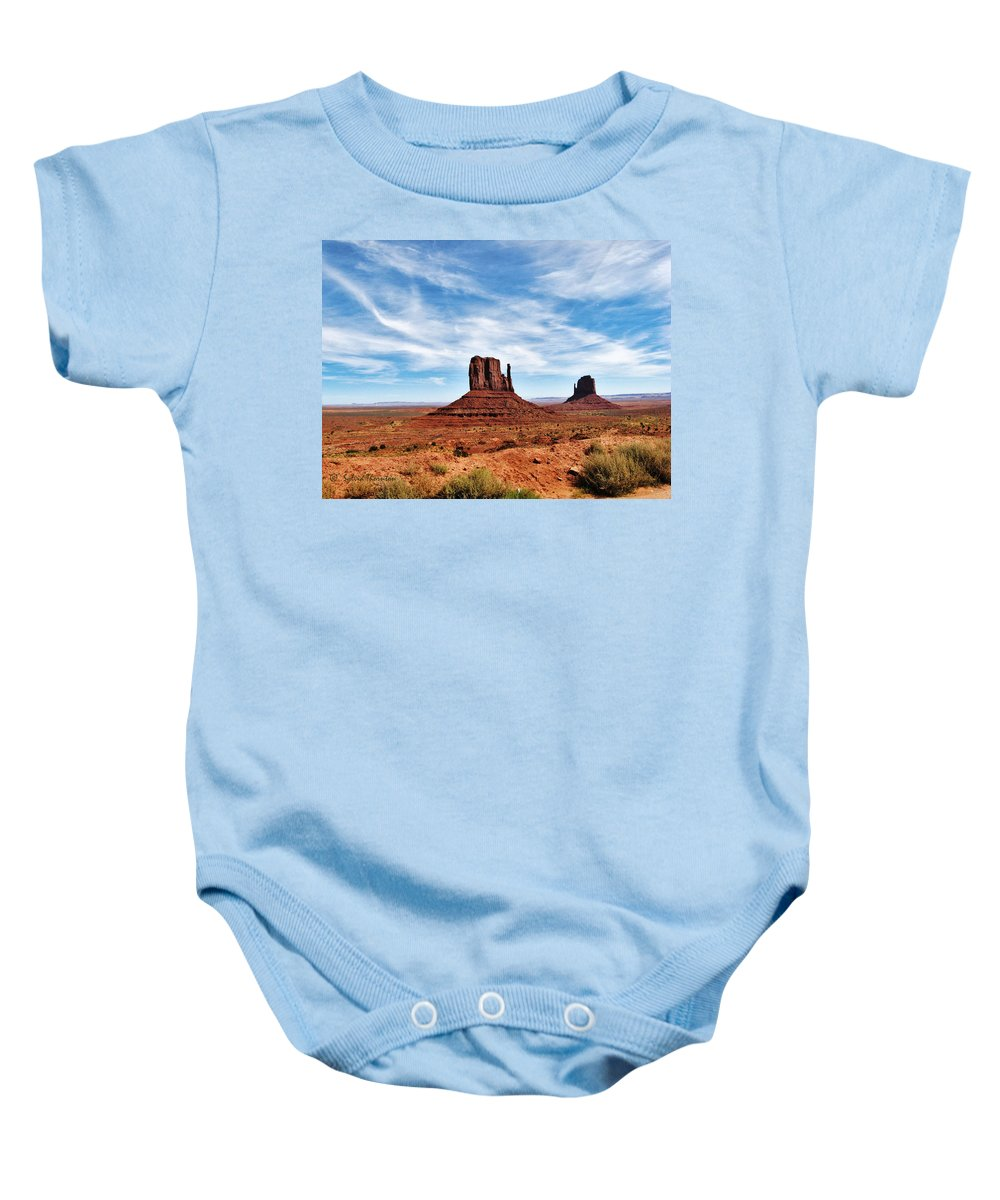 Monument Valley Baby Onesie featuring the photograph Saluting Sentinels by Sylvia Thornton