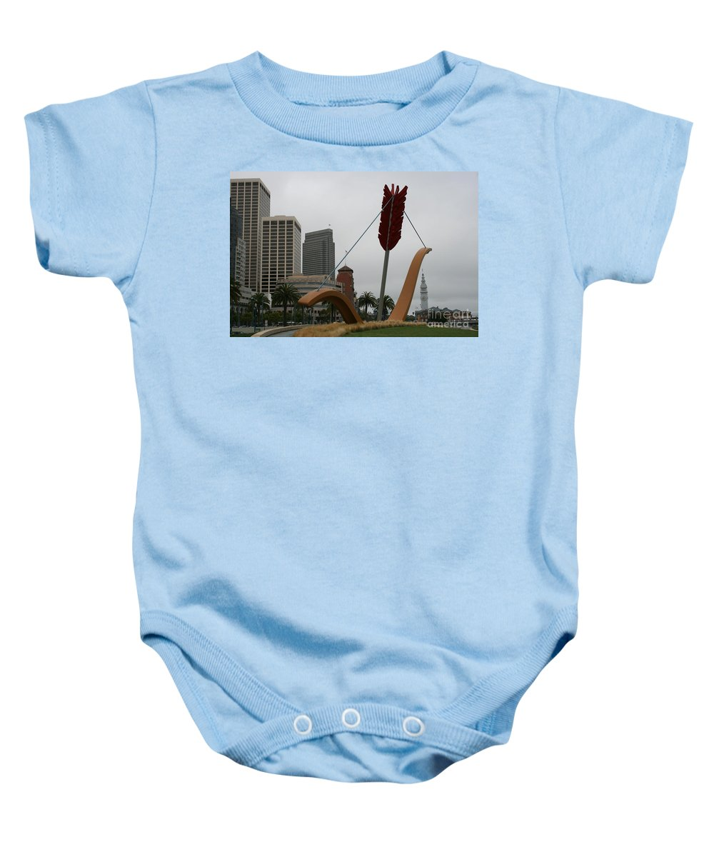 San Francisco Baby Onesie featuring the photograph San Francisco - Cupid's Span by Christiane Schulze Art And Photography