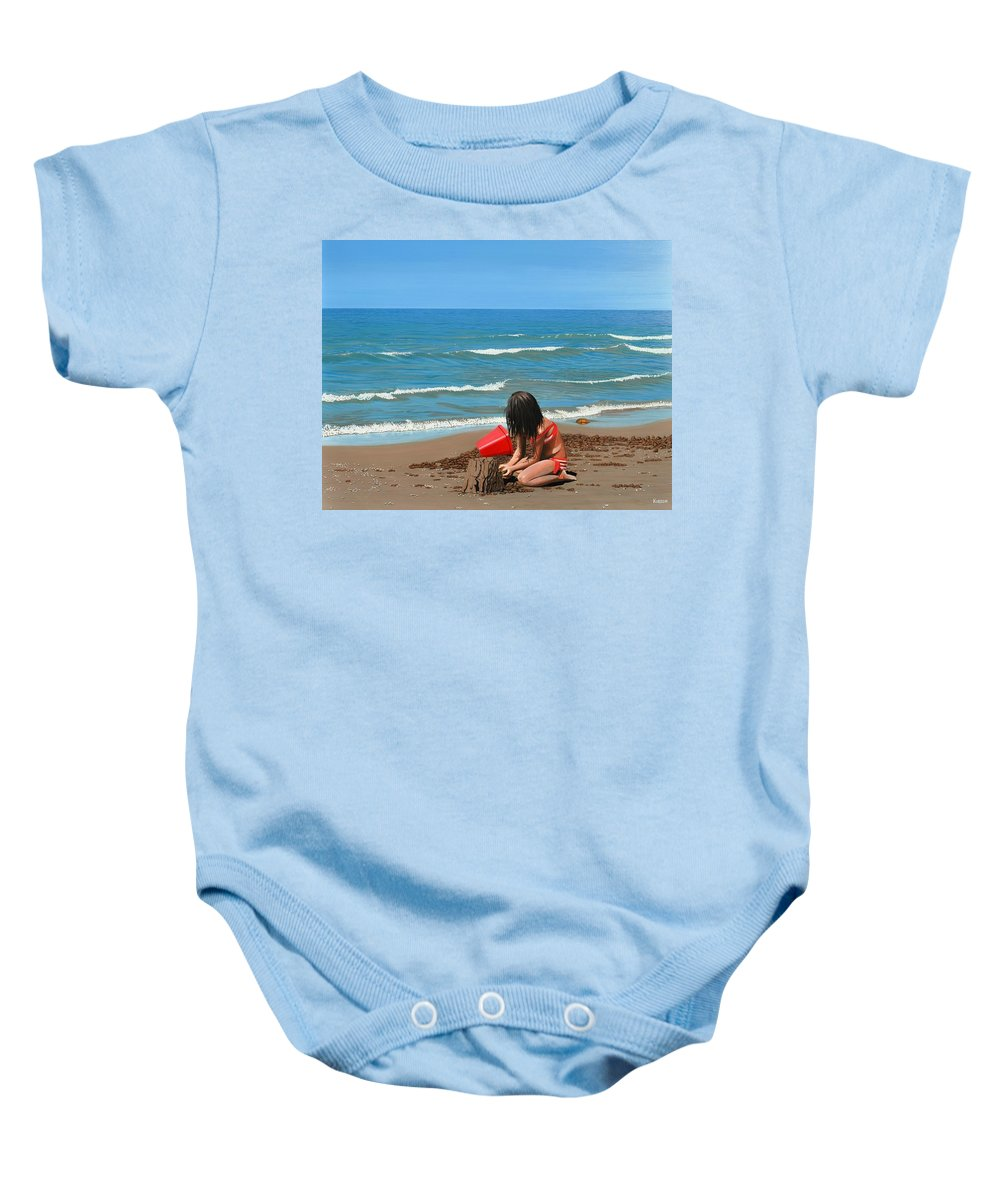 Beach Baby Onesie featuring the painting Sand Castles by Kenneth M Kirsch