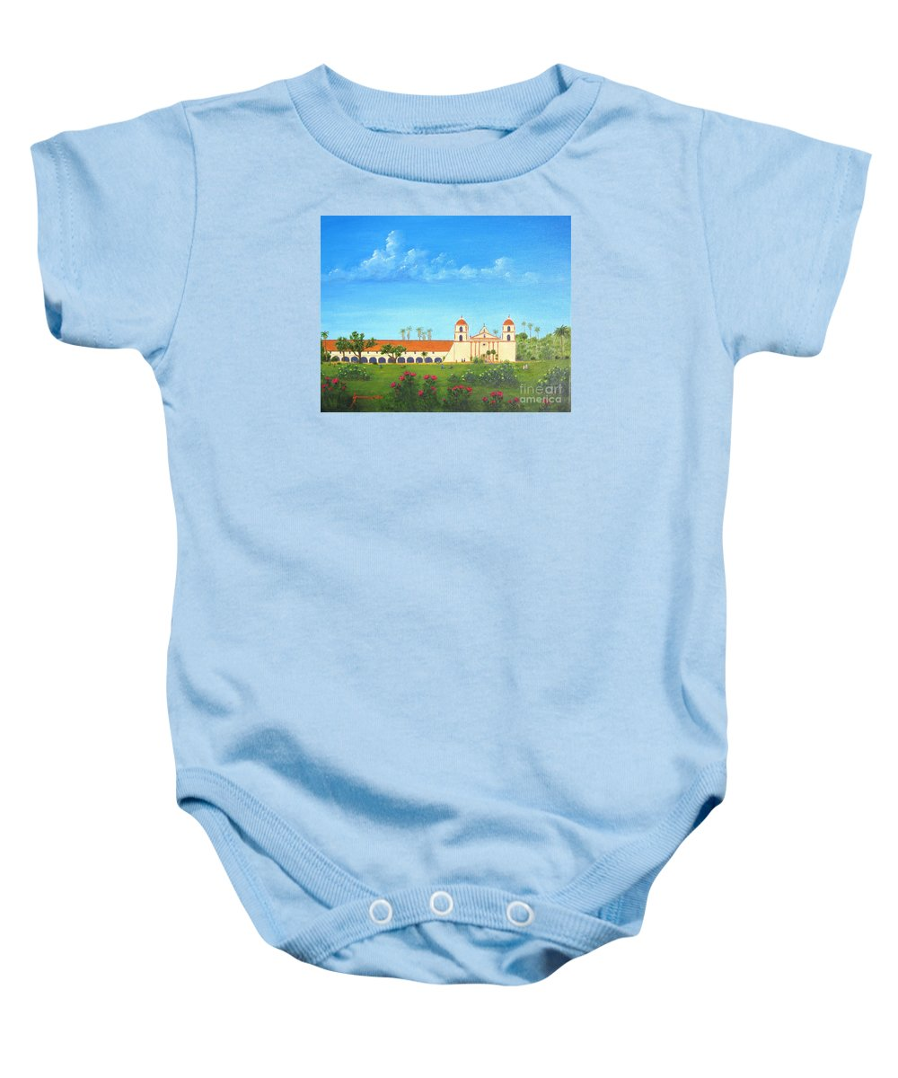 Santa Barbara Baby Onesie featuring the painting Santa Barbara Mission by Jerome Stumphauzer