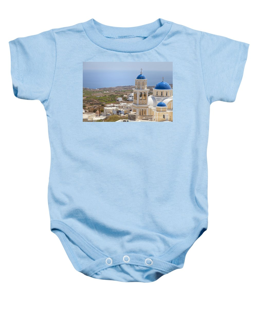 Fira Baby Onesie featuring the photograph Santorini Church Overlooking The Sea by Sophie McAulay