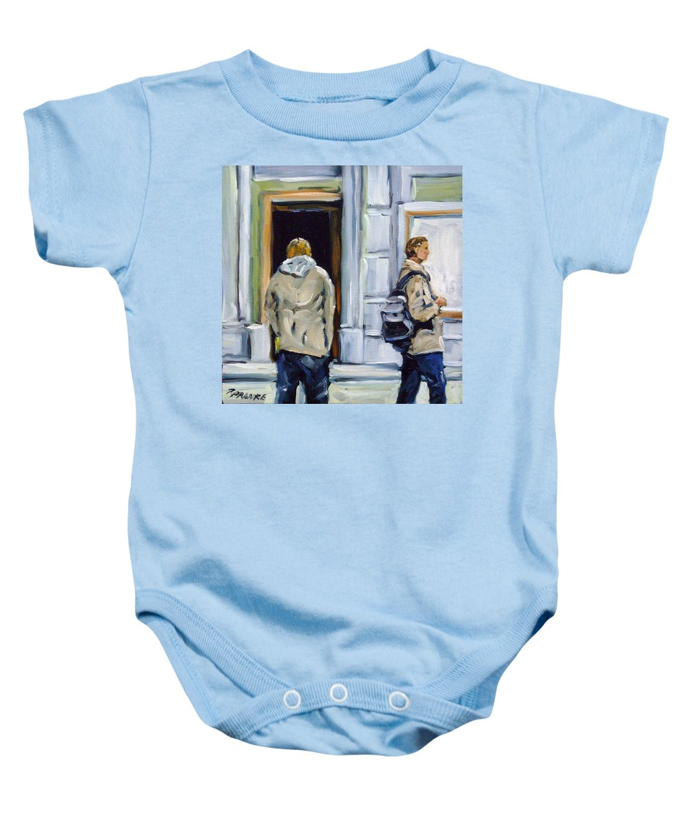 Urban Baby Onesie featuring the painting School Days by Richard T Pranke