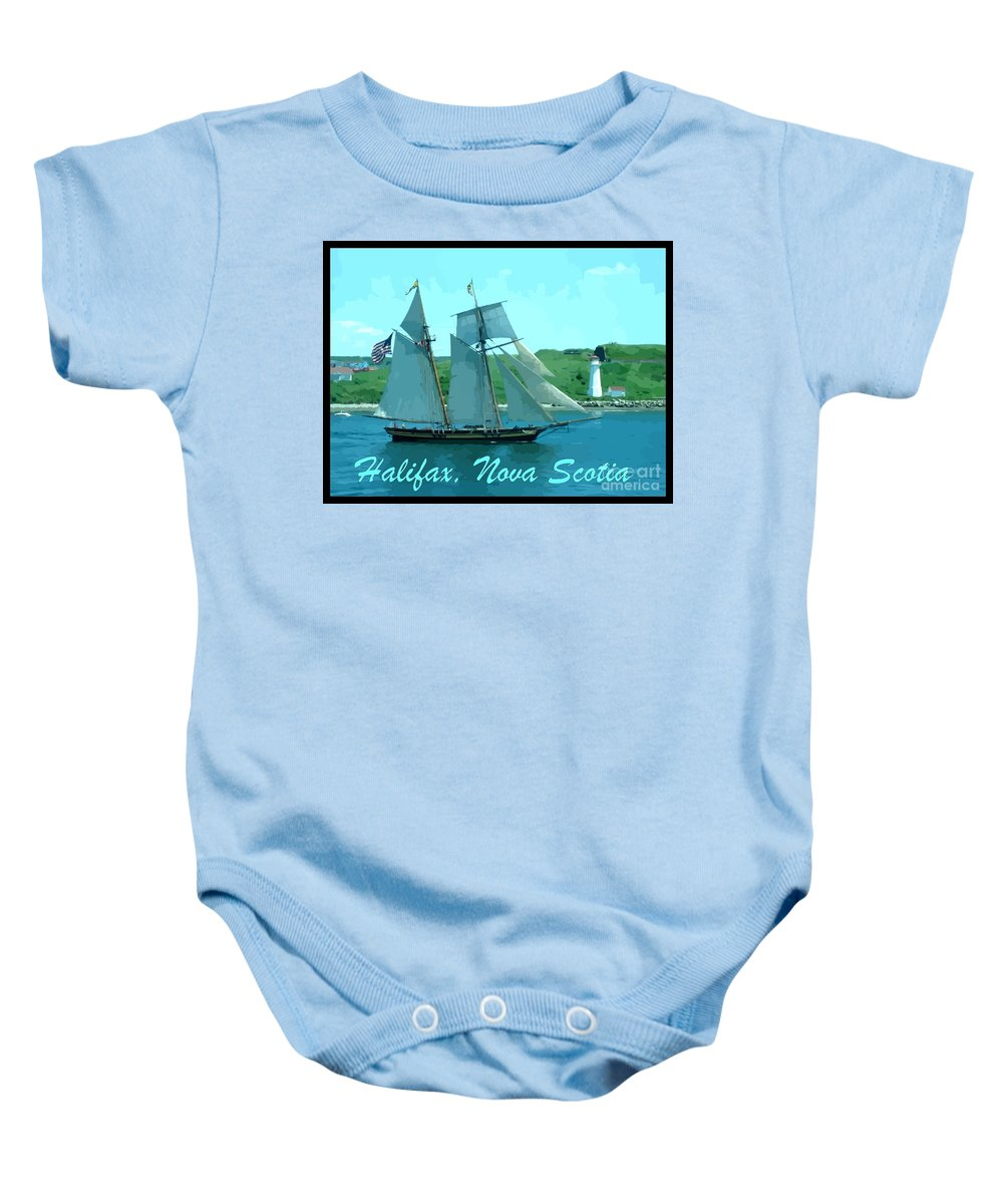 Schooner And Lighthouse Baby Onesie featuring the photograph Schooner And Lighthouse by John Malone