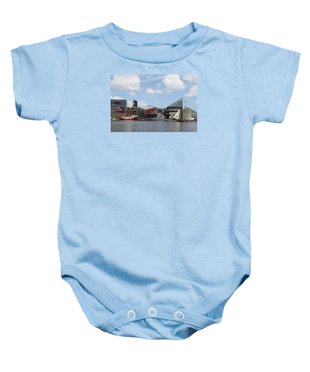 Sail Ship Baby Onesie featuring the photograph Schooner Comming Back To Baltimore Harbor by Christiane Schulze Art And Photography