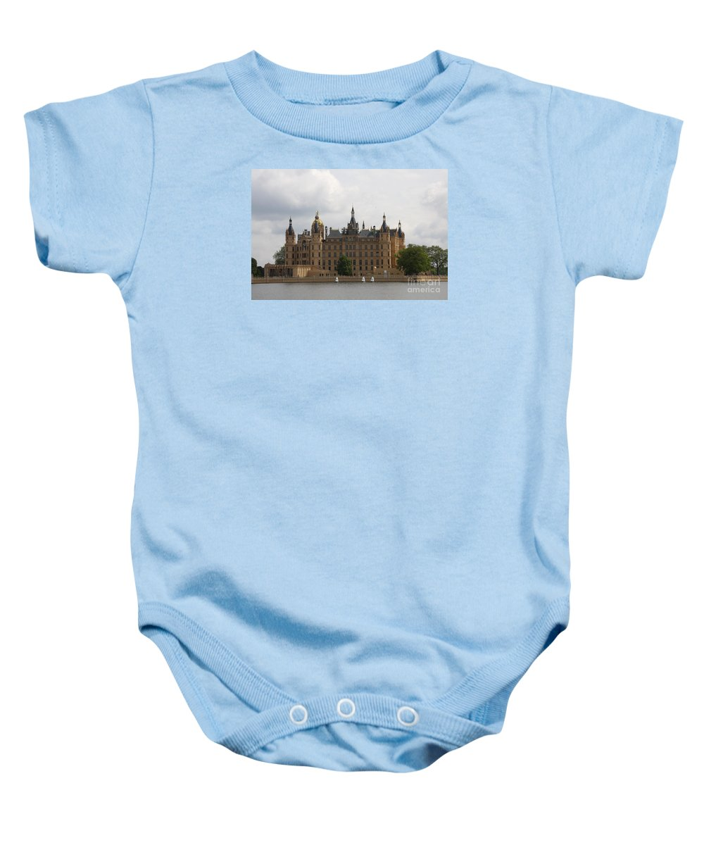 Schwerin Baby Onesie featuring the photograph Schwerin Castle Front Aspect by Christiane Schulze Art And Photography