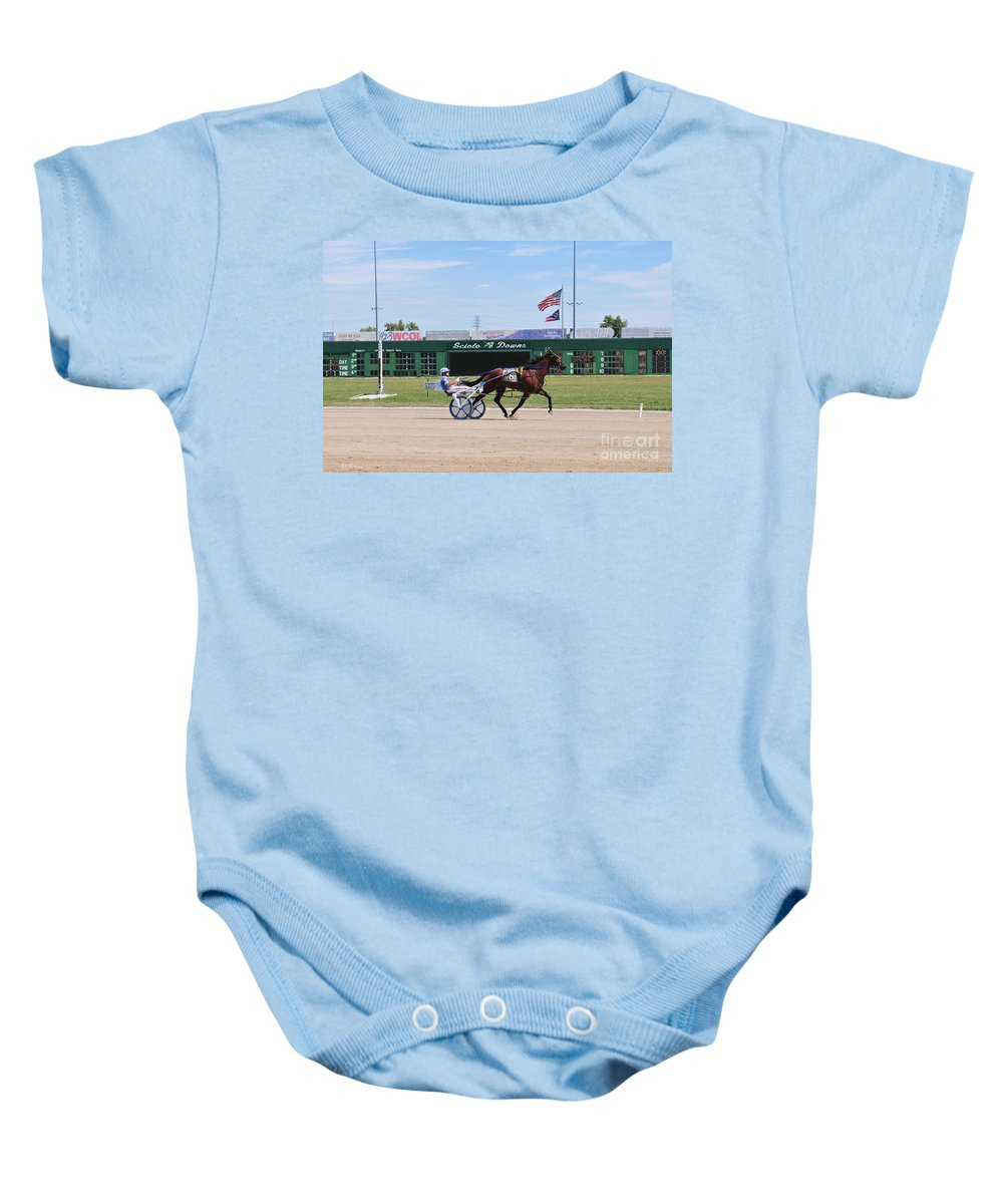 Harness Racing Baby Onesie featuring the photograph D3w-206 Scioto Downs Photo by Ohio Stock Photography