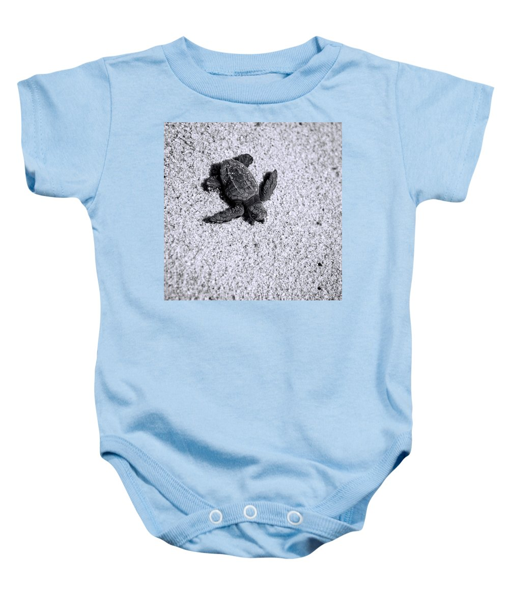 Los Cabos Baby Onesie featuring the photograph Sea Turtle In Black And White by Sebastian Musial