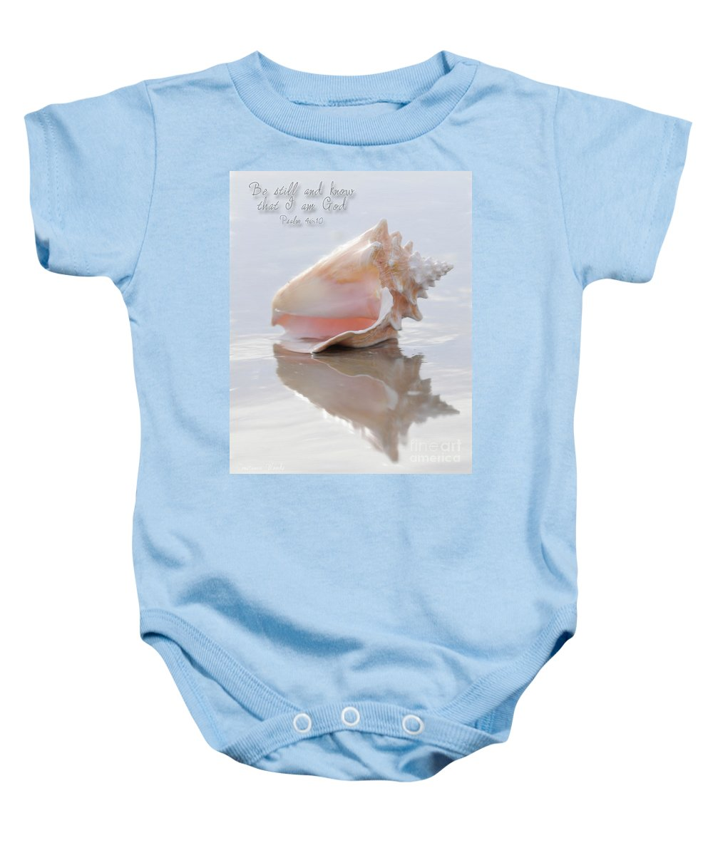 Seashell Art Baby Onesie featuring the digital art Seashell Be Still by Constance Woods