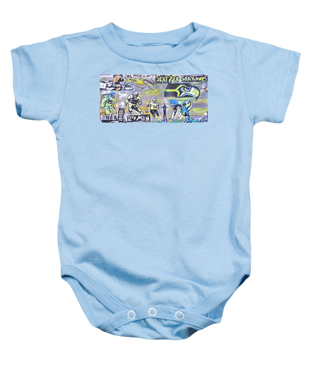 Jimi Hendrix Baby Onesie featuring the painting Seattle Seahawks 3 by Tony B Conscious