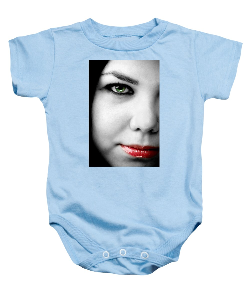 Green Baby Onesie featuring the photograph Secret by Greg Fortier