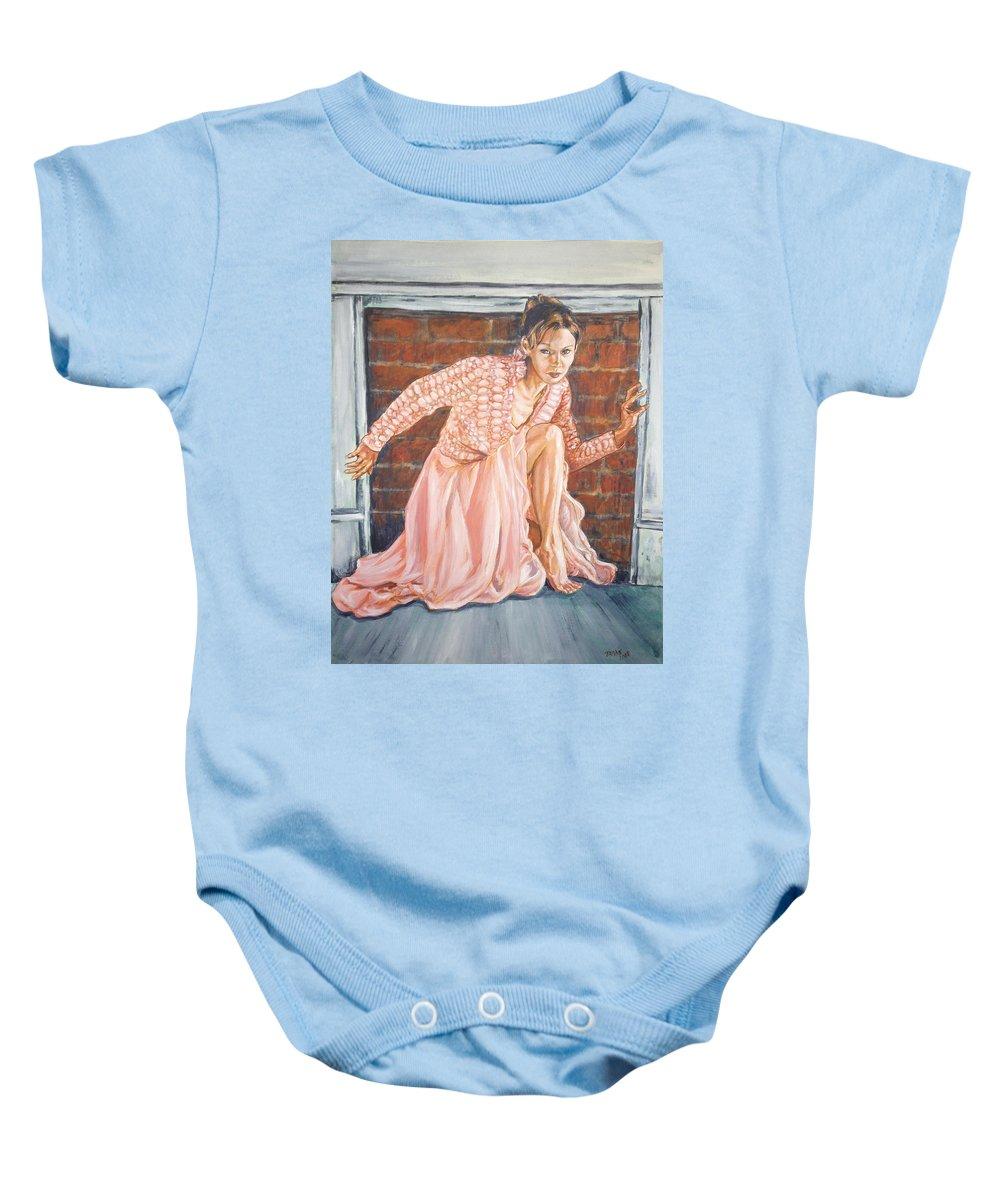Blonde Baby Onesie featuring the painting Secret Passage by Bryan Bustard