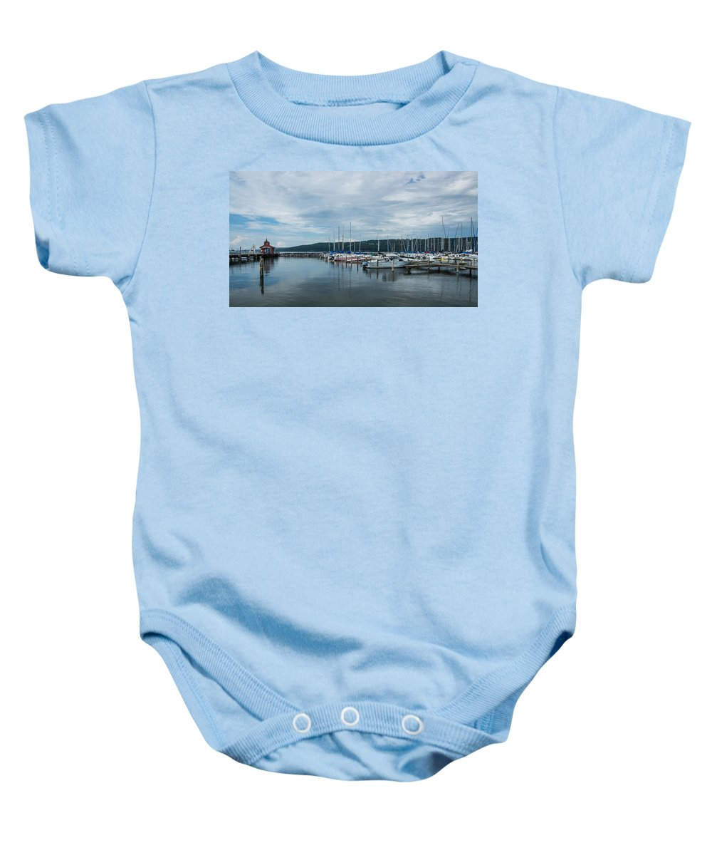 Seneca Baby Onesie featuring the photograph Seneca Lake Harbor - Watkins Glen - Wide Angle by Photographic Arts And Design Studio