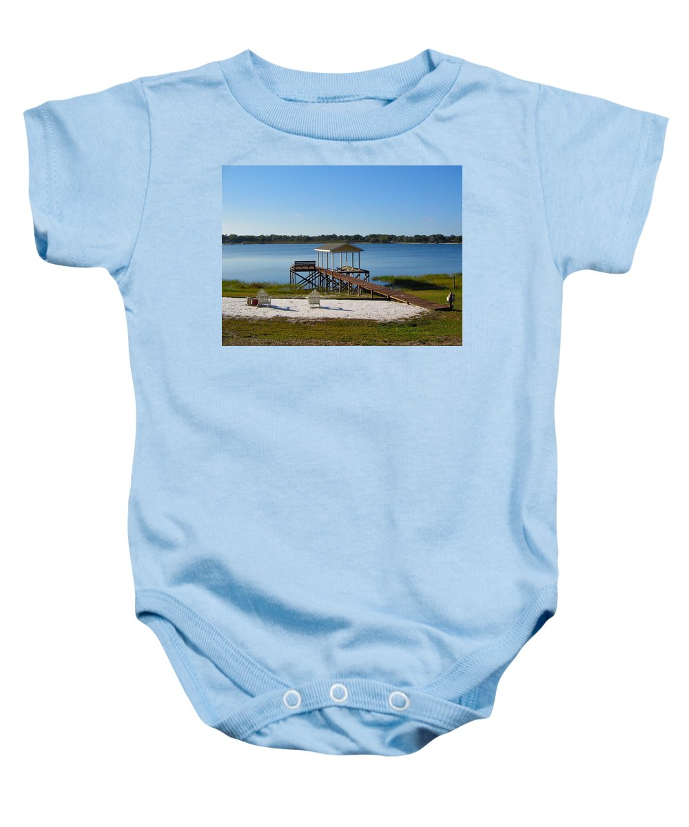 Pier Baby Onesie featuring the photograph Serenity At The Lake by Denise Mazzocco
