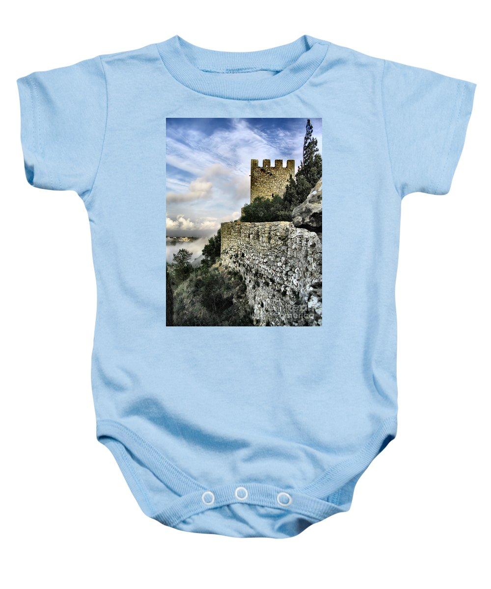 Castle Baby Onesie featuring the photograph Sesimbra Castle by Jose Elias - Sofia Pereira