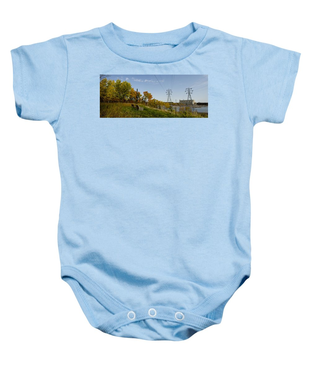 Seven Sisters Baby Onesie featuring the photograph Seven Sisters Pinawa by Sandra Parlow