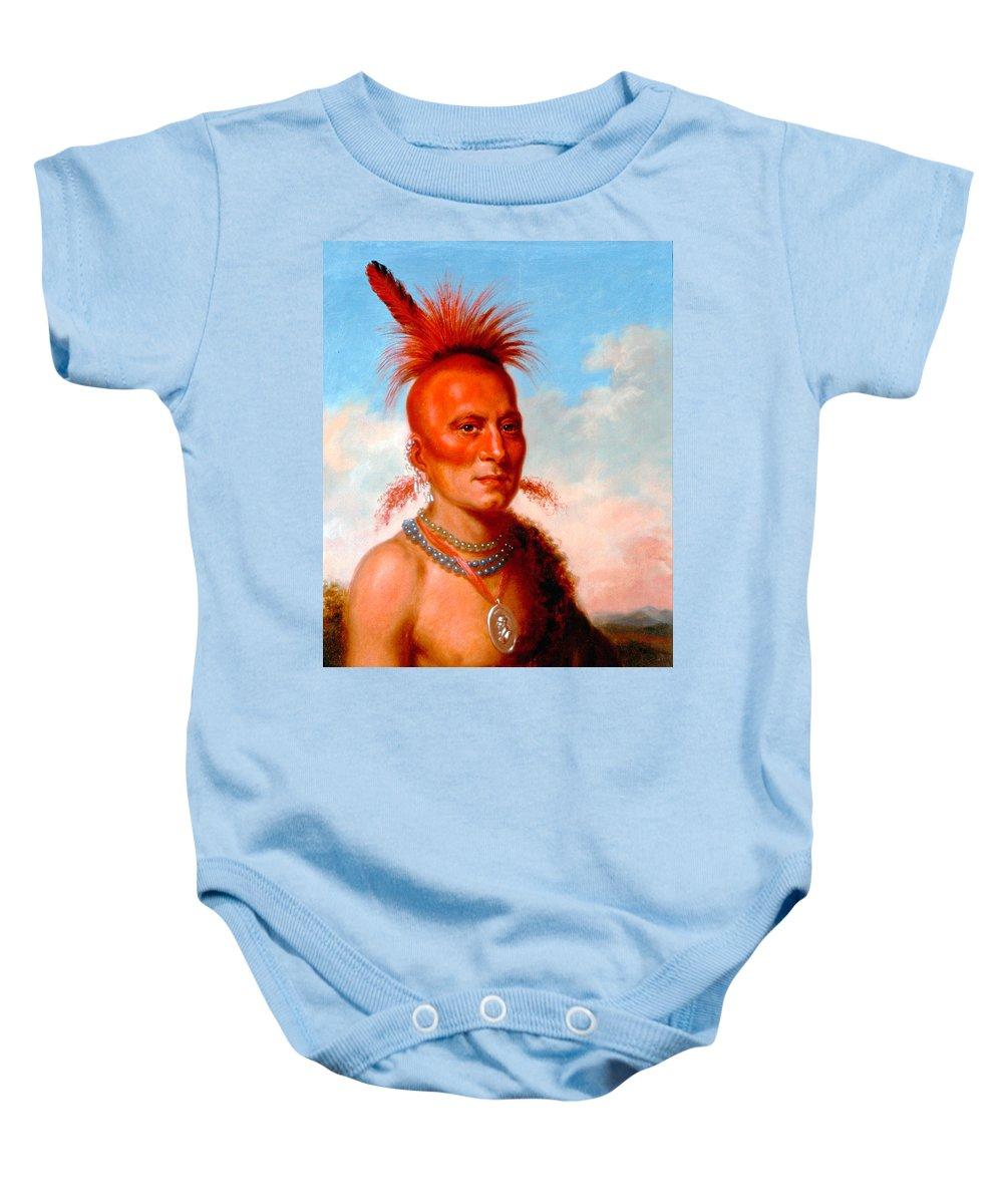 Charles Bird King Baby Onesie featuring the painting Sharitarish. Wicked Chief. Pawnee by Charles Bird King