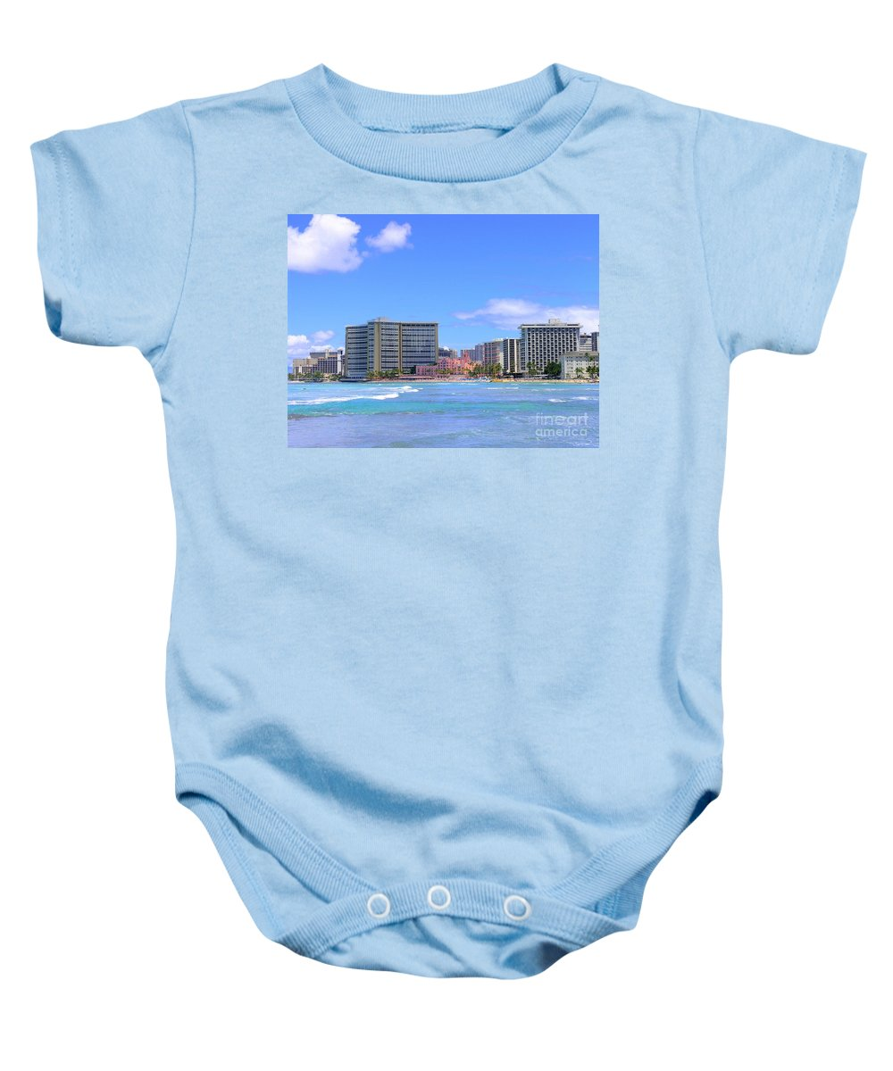 Sheraton Baby Onesie featuring the photograph Sheraton And Royal Hawaiian View by Mary Deal