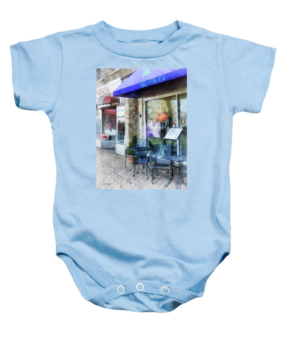 Cafe Baby Onesie featuring the photograph Shopfront - Music And Coffee Cafe by Susan Savad