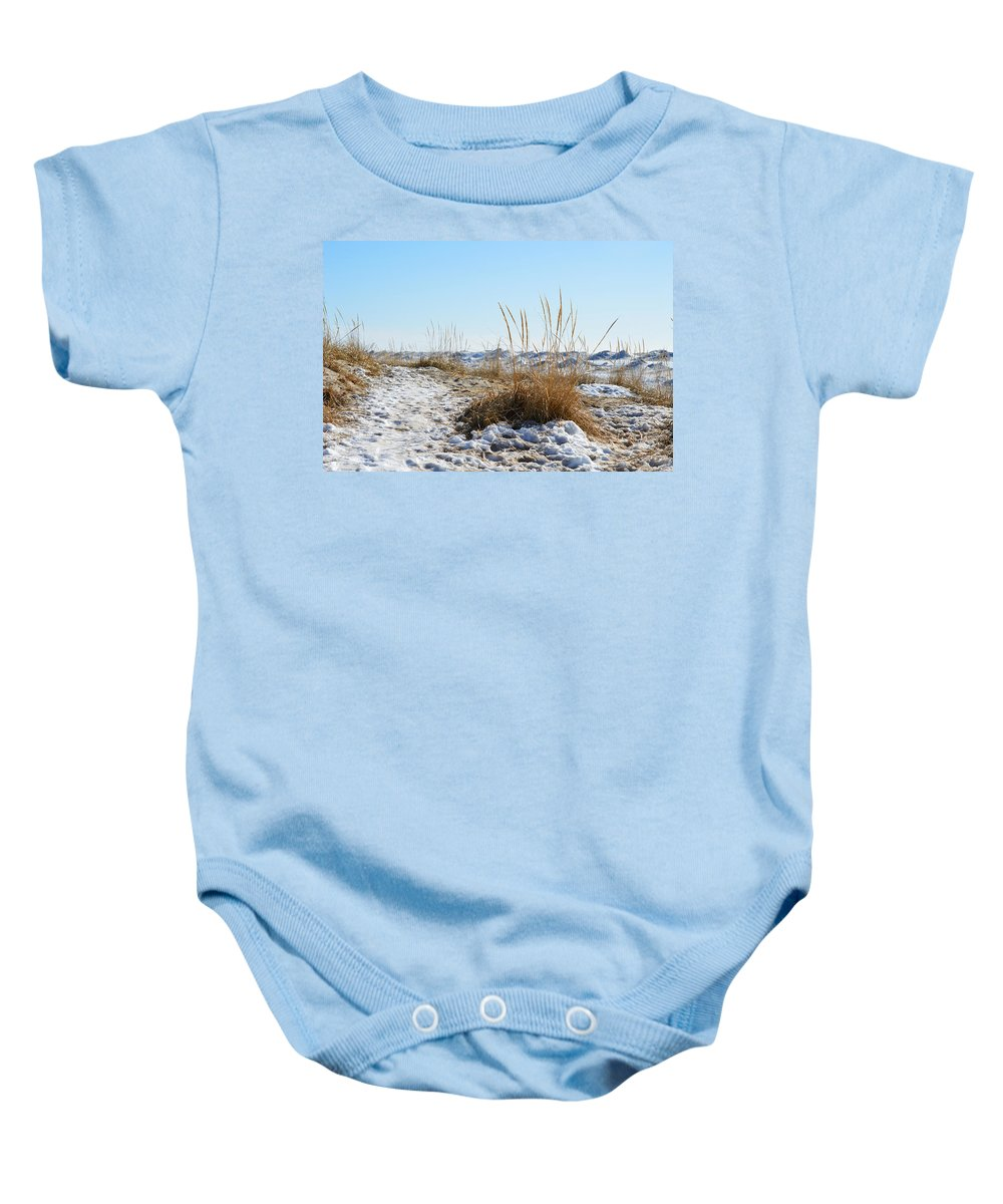 Michigan Baby Onesie featuring the photograph Shore And Ice by Linda Kerkau