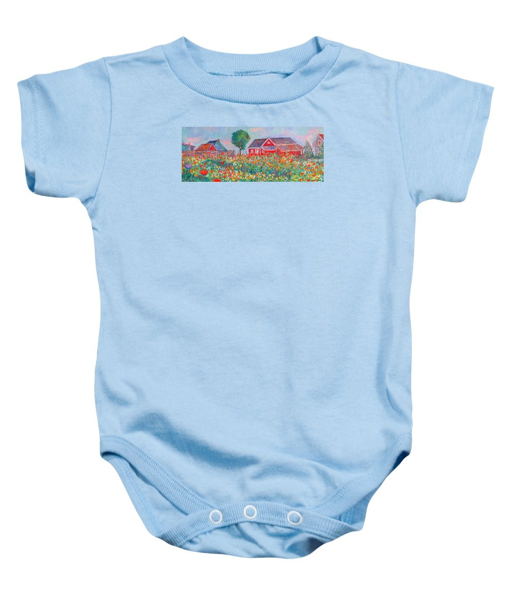 Landscape Baby Onesie featuring the painting Shore Flowers by Kendall Kessler