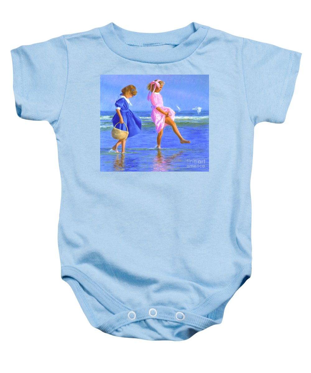Girls Baby Onesie featuring the painting Shoreline Skippers by Candace Lovely