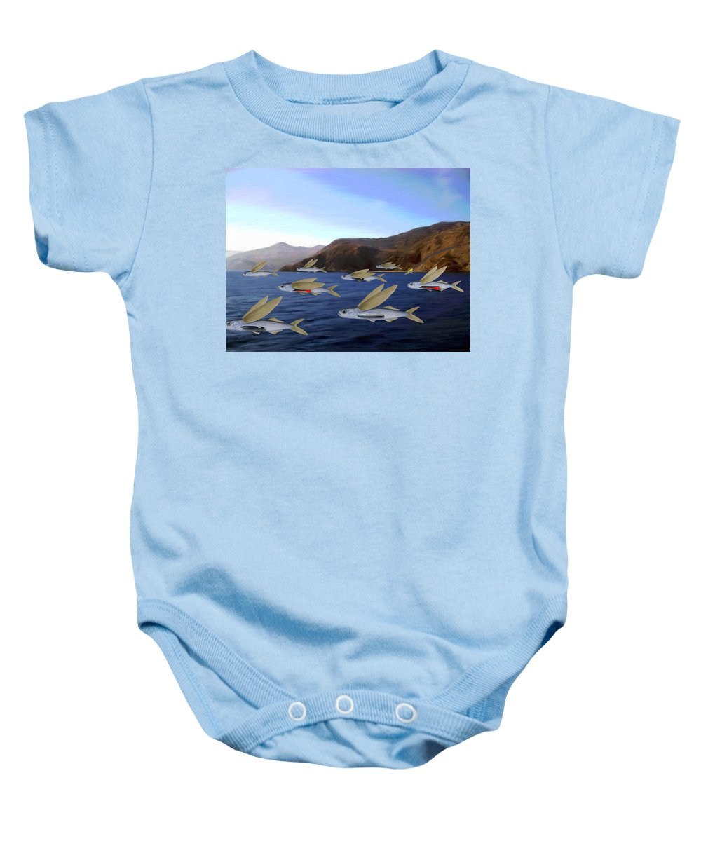 Fish Baby Onesie featuring the painting Shoreline Squadron by Snake Jagger