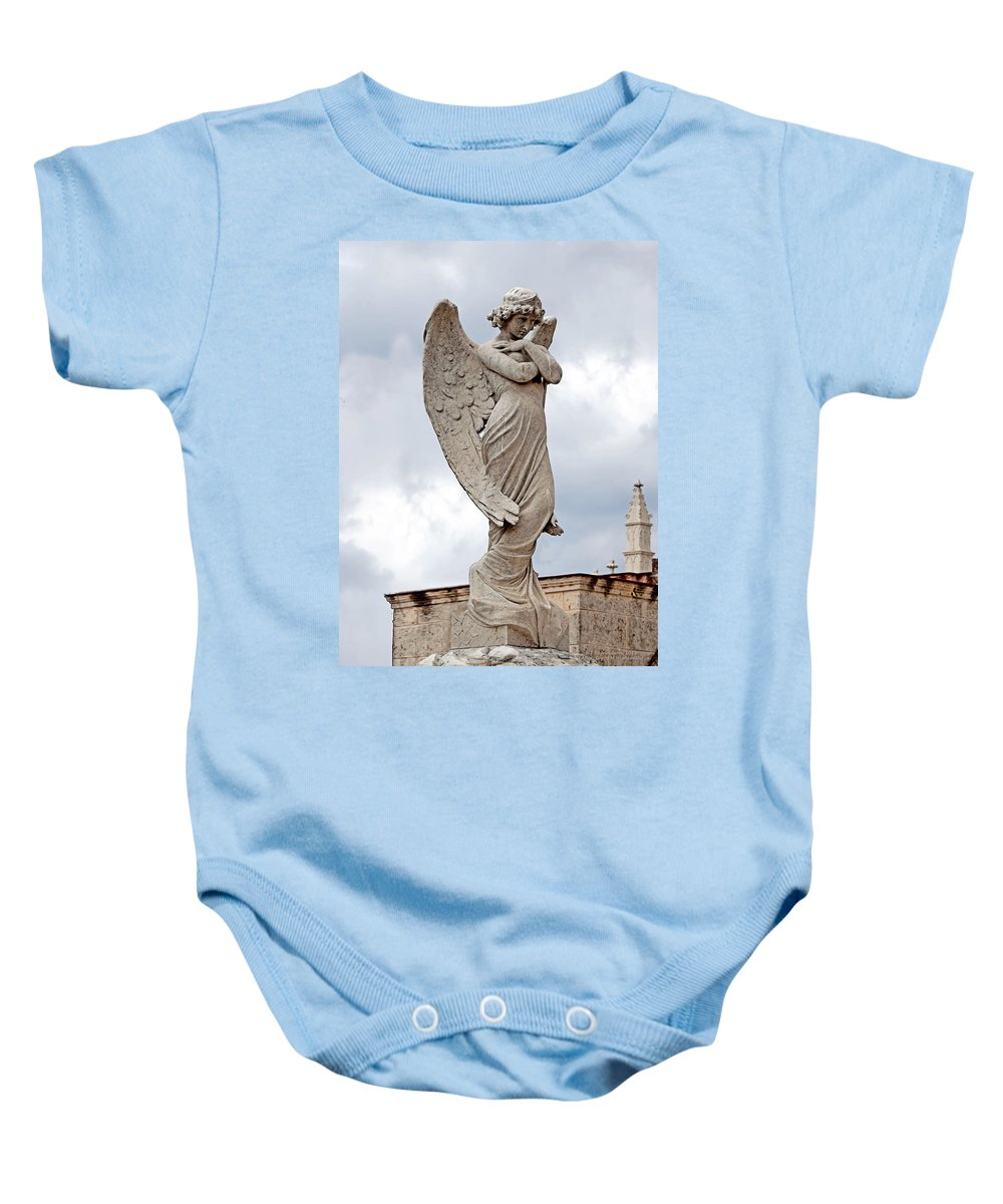 Angel Baby Onesie featuring the photograph Shy Angel by Terry Reynoldson