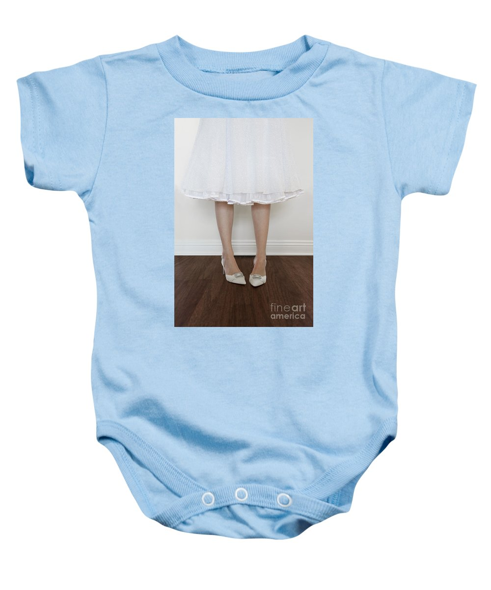 Caucasian Baby Onesie featuring the photograph Shy by Margie Hurwich