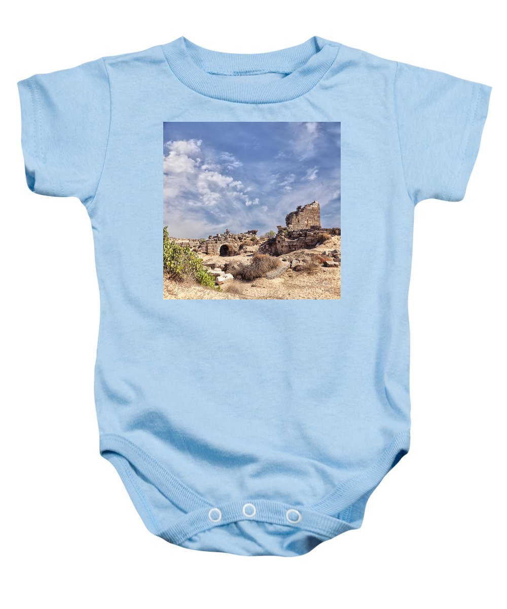Antique Baby Onesie featuring the photograph Side Ancient Archaeological Remains by Sophie McAulay