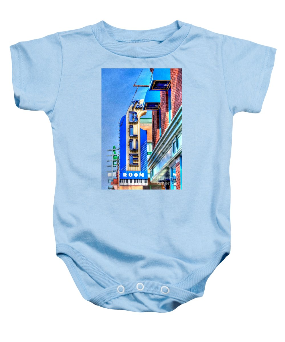 The Blue Room Baby Onesie featuring the photograph Sign - The Blue Room - Jazz District by Liane Wright