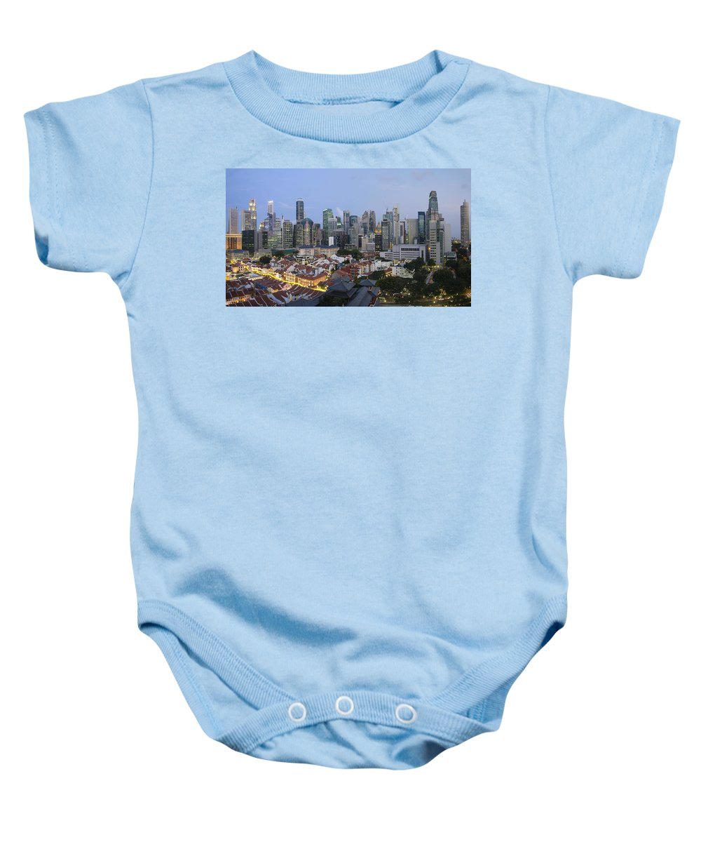 Singapore Baby Onesie featuring the photograph Singapore Skyline Along Chinatown Evening by Jit Lim