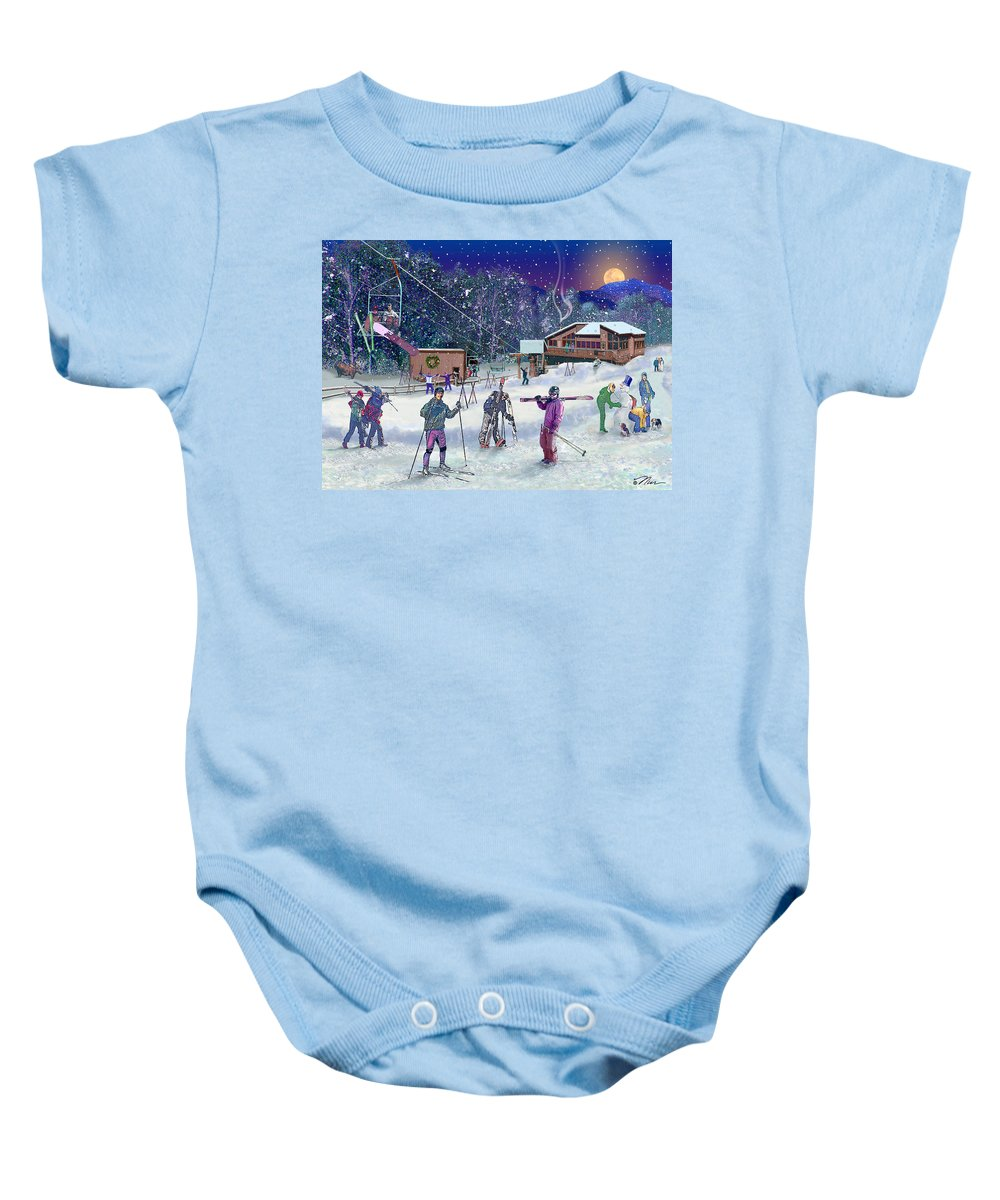 Ski Baby Onesie featuring the digital art Ski Area Campton Mountain by Nancy Griswold