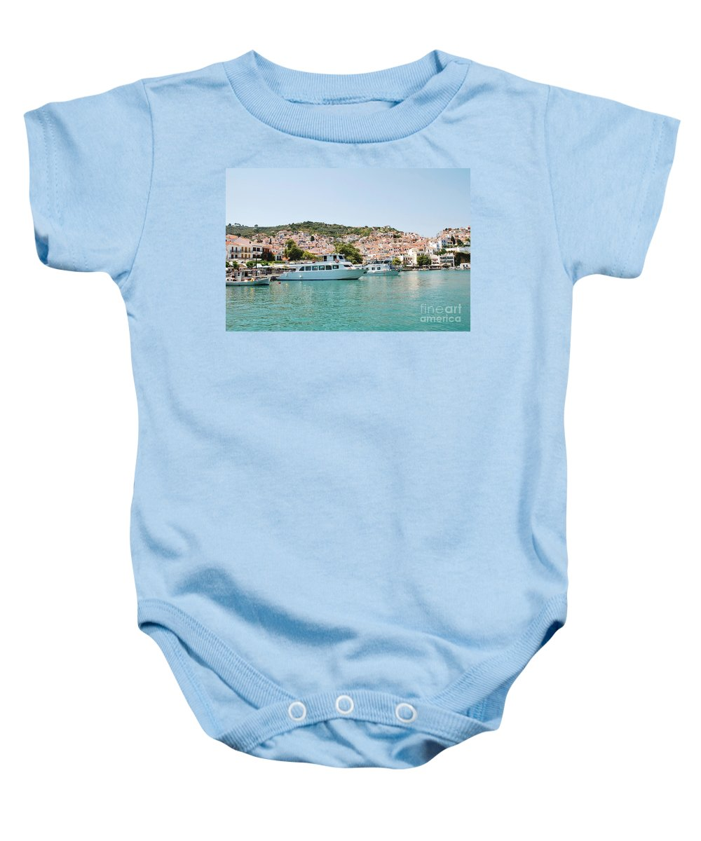 Skopelos Baby Onesie featuring the photograph Skopelos Harbour Greece by David Fowler