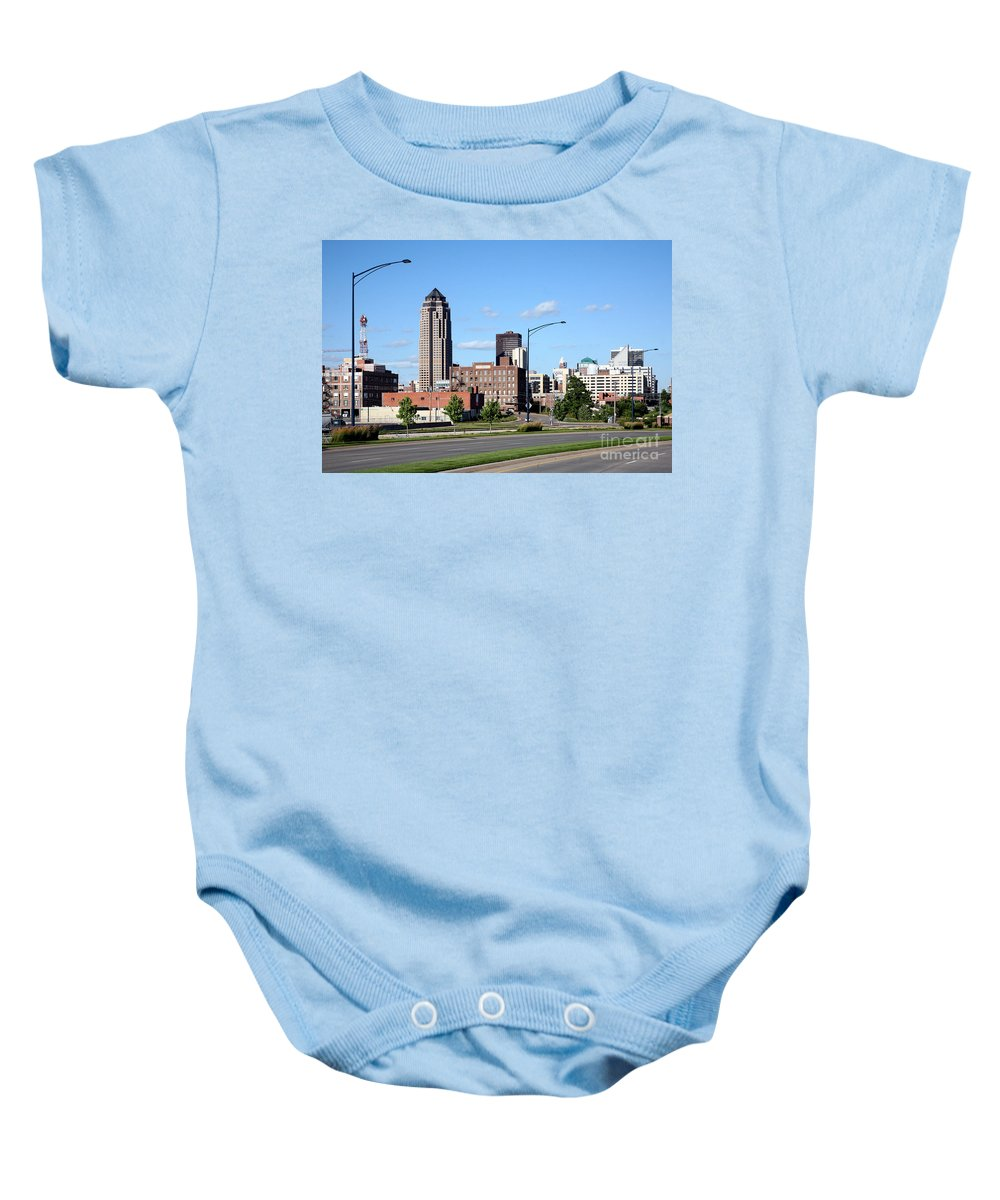 801 Grand Baby Onesie featuring the photograph Skyline Of Des Moines Iowa by Bill Cobb