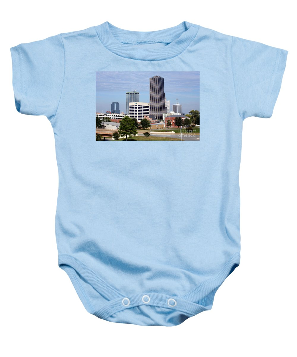 Bank Of Americal Plaza Baby Onesie featuring the photograph Skyline Of Little Rock by Bill Cobb