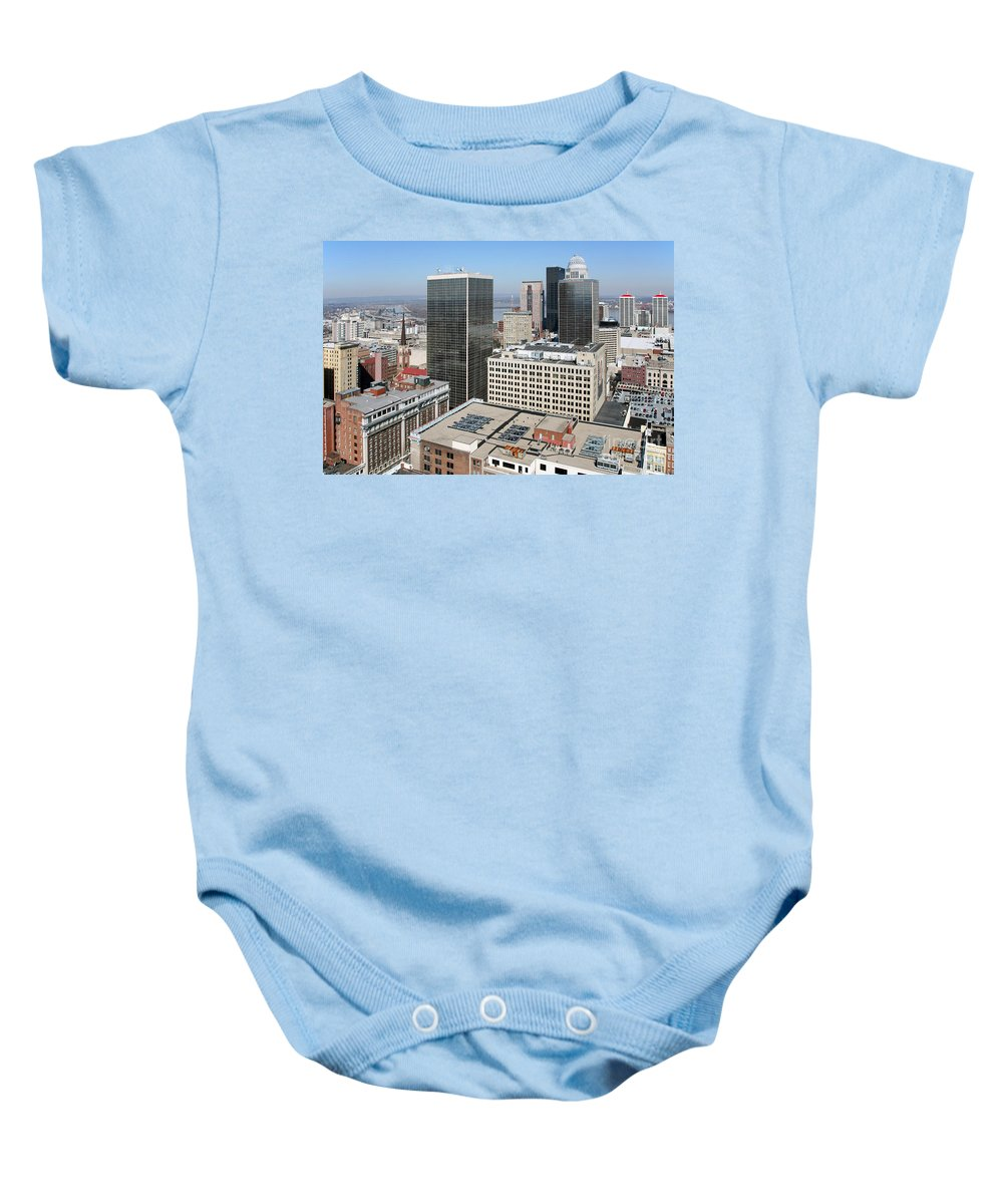 Aegon Center Baby Onesie featuring the photograph Skyline Of Louisville Kentucky by Bill Cobb