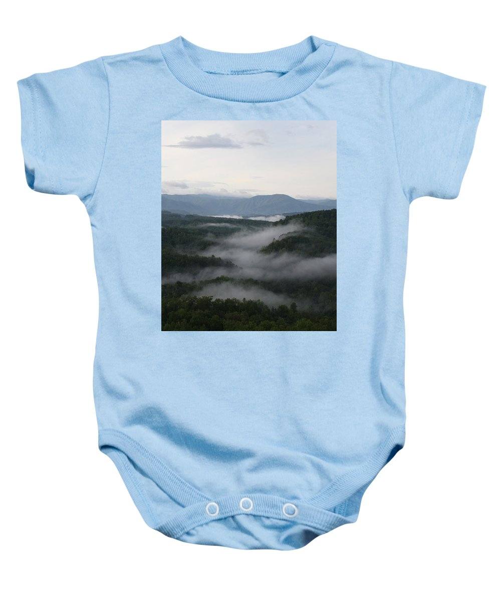 Smoky Mountains Baby Onesie featuring the photograph Smoky Mountain Mist by Dan McCafferty