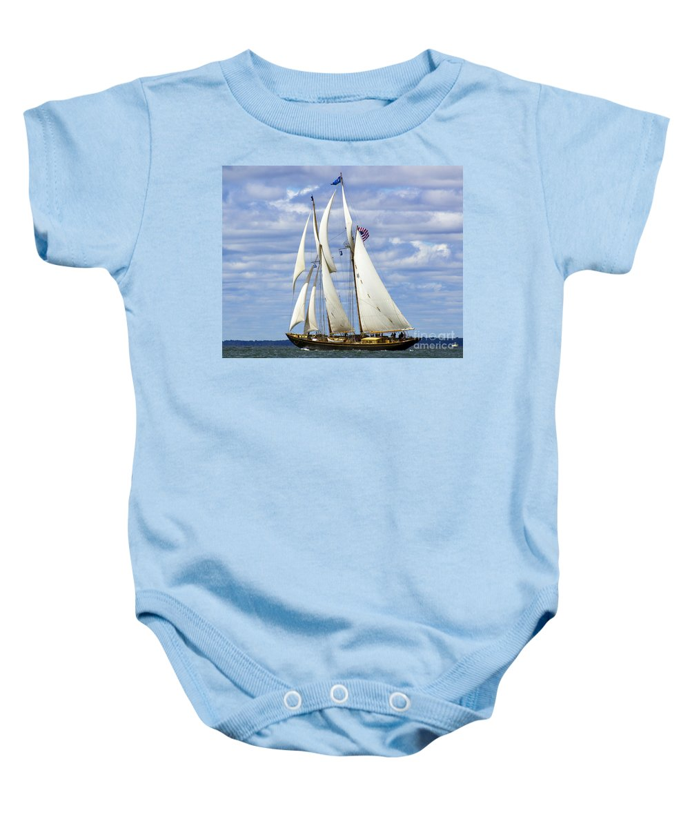 Schooner Baby Onesie featuring the photograph Smooth Sailing by Joe Geraci