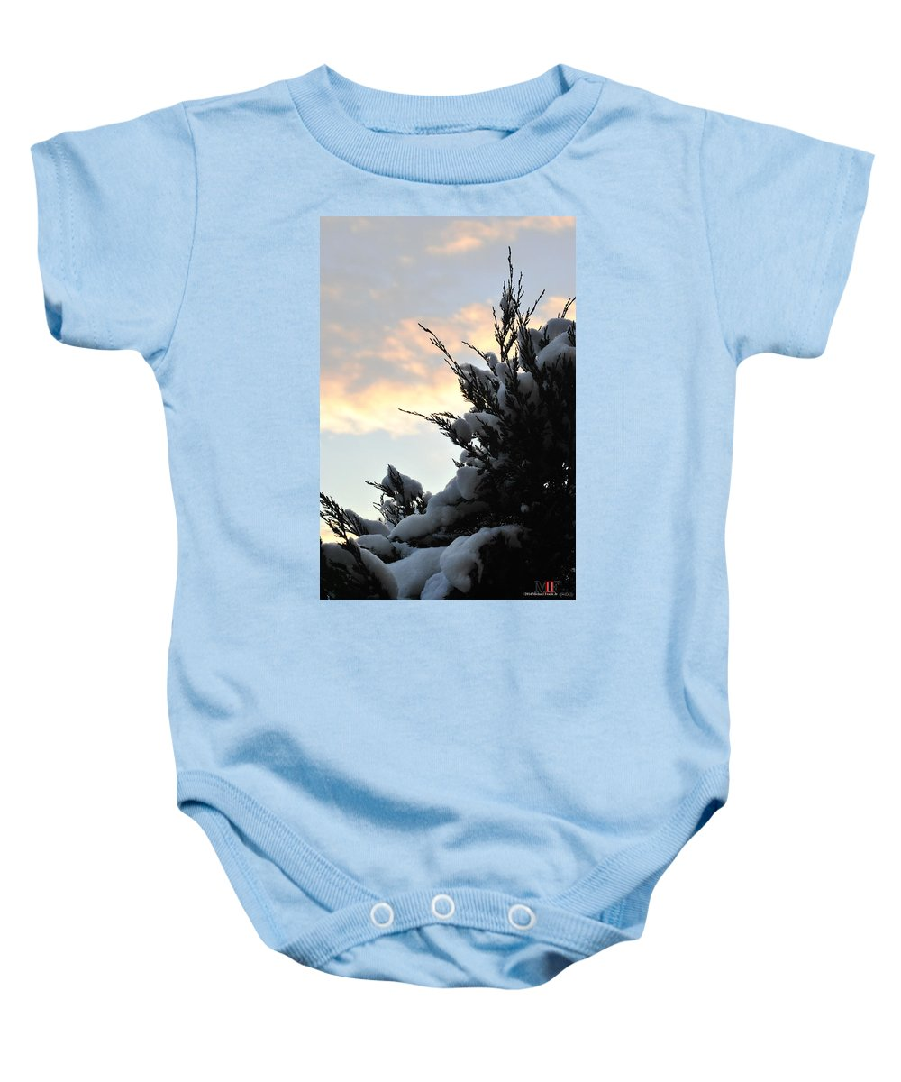 Michael Frank Jr Baby Onesie featuring the photograph Snowvember Sunrise by Michael Frank Jr