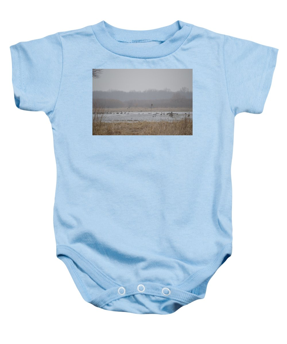 Geese Baby Onesie featuring the photograph Snowy Morning On The Pond by Bonfire Photography