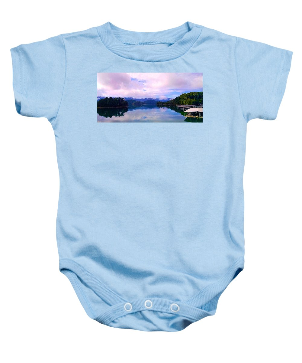South Holston Lake. Clouds Baby Onesie featuring the photograph South Holston Lake Tn by Jeff Kurtz